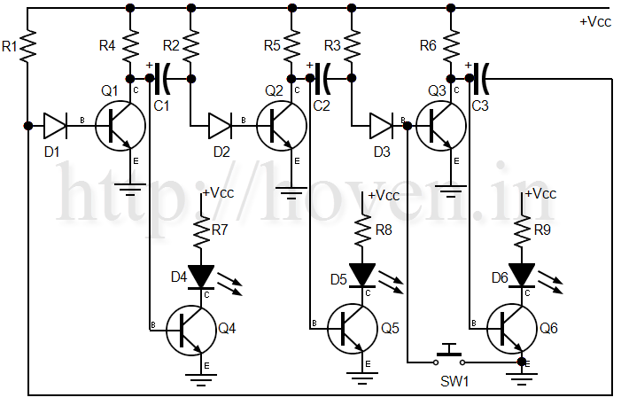 3 transistor and 3 led astable multivibrator circuit
