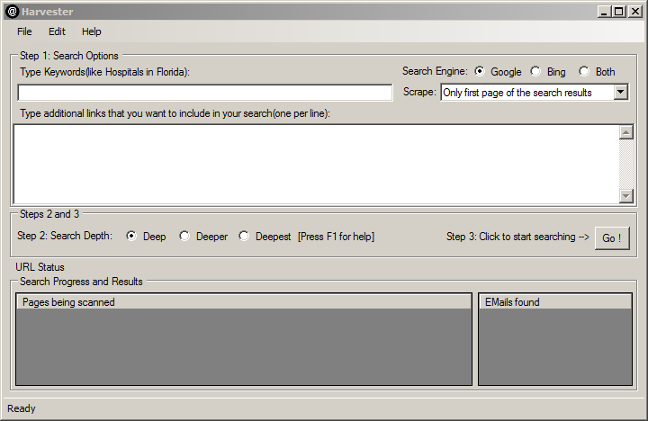 screenshot of the email harvesting/extracting software