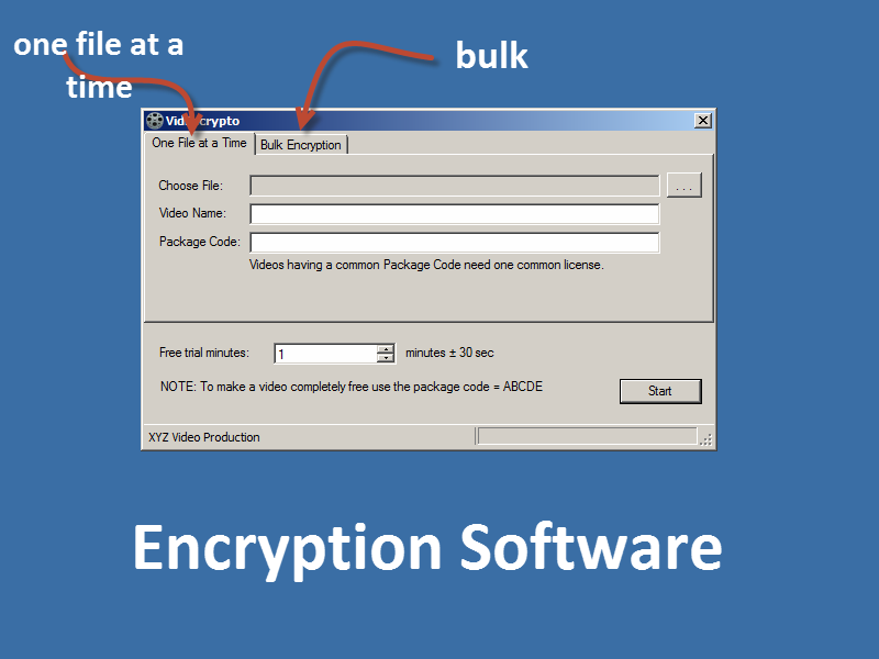 screenshot of the opening window of the encryption software