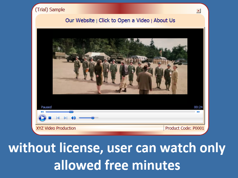 screenshot of user can watch trial duration only, if he doesn't have the license.