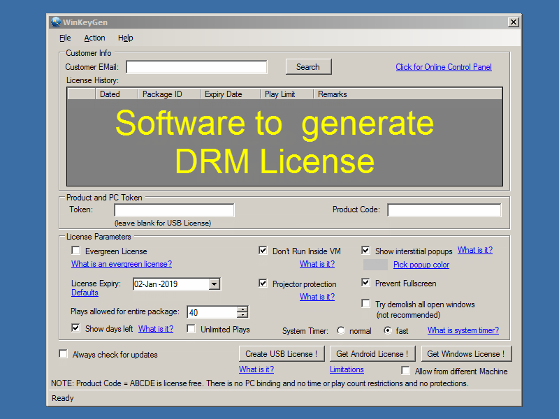 screenshot of the software to generate license