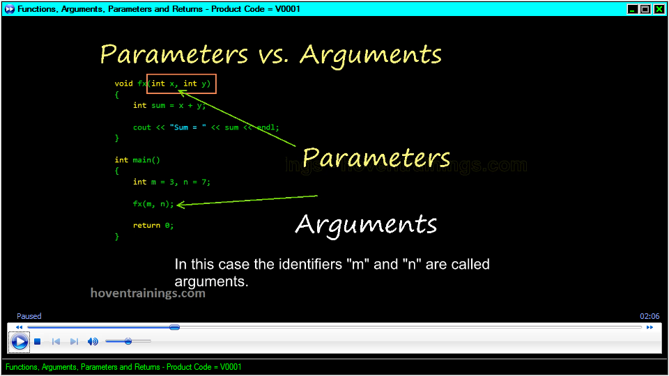 Functions, Arguments, Parameters and Returns | C/C++